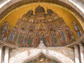 Facade mosaics at st mark s cathedral of venice the moorish portal the basilica di san marco depicting the procession marks Stock Photos