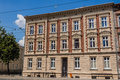 Facade of newly renovated stylish tenement in katowice silesia region poland Stock Image