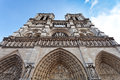 Facade of notre dame de paris cathedral Royalty Free Stock Photos