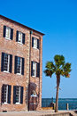 Facade of old historic house with palm tree brick Royalty Free Stock Photography