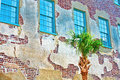 Facade of old historic house with palm tree brick Royalty Free Stock Photos