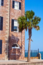 Facade of old historic house with palm tree brick Royalty Free Stock Image
