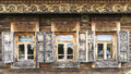 Facade of the old log house in the museum of wooden architecture an with openwork carved architraves suzdal golden ring russia Royalty Free Stock Images