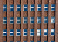 Facade of an old red brick building Royalty Free Stock Photo