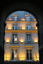 Facade in Paris - evening Stock Image