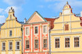 Facade of renaissance houses in telc czech republic a unesco w world heritage site Stock Images