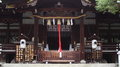 Facade of shinto shrine traditional japanese temple in kyoto okazaki Royalty Free Stock Photo