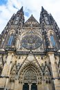 Facade of St. Vitus Cathedral  in Prague Royalty Free Stock Photo