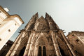 Facade of St. Vitus Cathedral & x28;Roman Catholic cathedral & x29;. Pragu Royalty Free Stock Photo