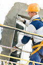 Facade stopping and surfacer works Stock Photography