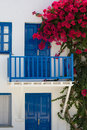 Facade of a typical bleu and white greek house Royalty Free Stock Photo