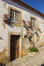 Facade. Typical whitewashed house. Obidos. Portugal Royalty Free Stock Photo