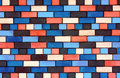 Facade view colorful brick wall design background Stock Photography