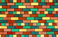 Facade view colorful brick wall design background Royalty Free Stock Image