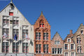 Facades at jan van eyck square bruges belgium left the old toll house Royalty Free Stock Photo