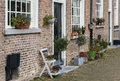 Facades of an old Dutch beguinage Royalty Free Stock Photo