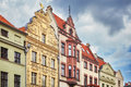 Facades of old houses in Torun old town, Poland Royalty Free Stock Photo