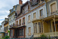 Facades victorian style of houses in vichy france Stock Image