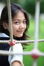 Face of asian woman at play ground Stock Photo