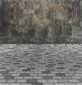 Face The Barrier Concept. Perspective View of Monotone Gray Brick Stone Street Road. Sidewalk, Pavement Texture Background with Ab Royalty Free Stock Photo