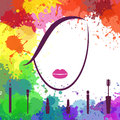 Face of beautiful girl. Makeup artist. Fashion icon. Logo template. Woman face. Make up elements