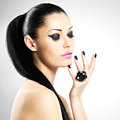 Face beautiful sexy woman black nails pink lips sexy girl fashion makeup Royalty Free Stock Image