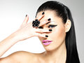 Face beautiful sexy woman black nails pink lips sexy girl fashion makeup Royalty Free Stock Photos