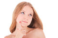 Face of beautiful woman with clean fresh skin close up healthy Stock Photography