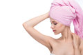Face of a beautiful young woman with a towel Royalty Free Stock Photo