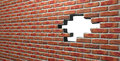 Face Brick Wall With Hole Royalty Free Stock Photo