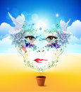 Face bright abstract background with eyes Royalty Free Stock Photo