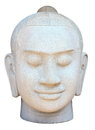 Face of buddha sculpture the on white background Royalty Free Stock Images