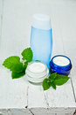 Face cream and lotion with urtica leaves Stock Images