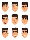 Face expressions of a business man. Different male emotions set.