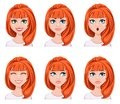 Face expressions of a redhead woman. Different female emotions,