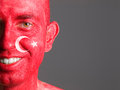 Face flag turkey smiling man makeup turkish isolated on dark background Stock Images