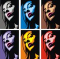 Face of girl in different colors as cosmetics background Royalty Free Stock Image