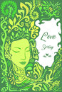 Face girl in foliage, herbs, flower.Decorative card with place for text. Royalty Free Stock Photo