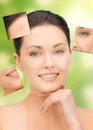 Face and hands of beautiful woman bright closeup portrait picture Royalty Free Stock Photos