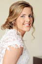 Face of a happy young bride beautiful smiling in lace dress Royalty Free Stock Image