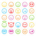 Face icon set colored on white background Stock Photo
