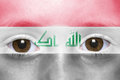 Face with iraqi flag Royalty Free Stock Photo