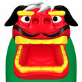 Face of japanese lion dance for new year s day d render illustration isolated on white Royalty Free Stock Photo