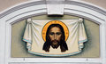 Face of Jesus Christ.Painting on a wall