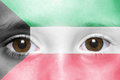 face with kuwait flag Royalty Free Stock Photo