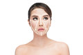 Face lift anti aging treatment portraitasian woman with graphic lines showing facial lifting effect on skin antiaging concept Royalty Free Stock Photo
