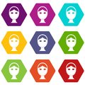 Face marked out for cosmetic surgery icon set color hexahedron Royalty Free Stock Photo
