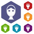 Face marked out for cosmetic surgery icons set Royalty Free Stock Photo