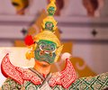 Face mask with traditional thai costume in Bangkok Royalty Free Stock Photo