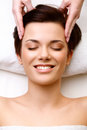 Face massage close up of a young woman getting spa treatment h high quality image Royalty Free Stock Photo